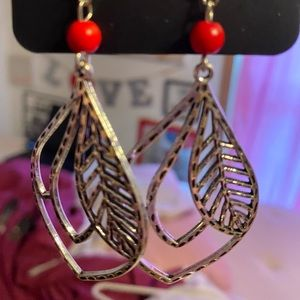 Red and Silver Leaf earrings